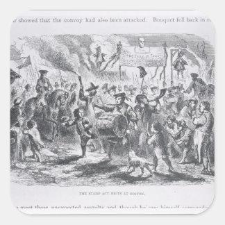 Los alborotos del acto del sello en Boston Pegatina Cuadrada