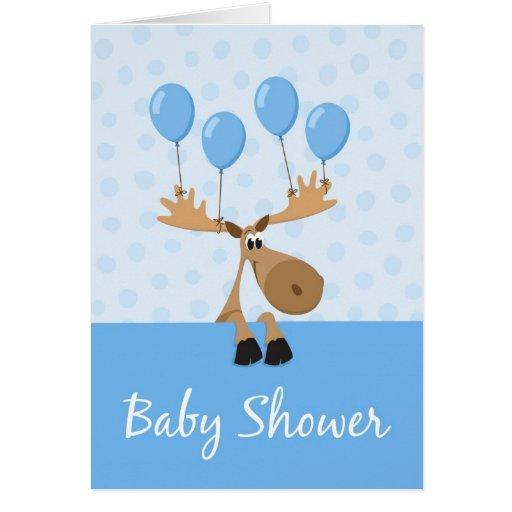 Los alces con el shover colorido del bebé de los tarjeta de felicitación
