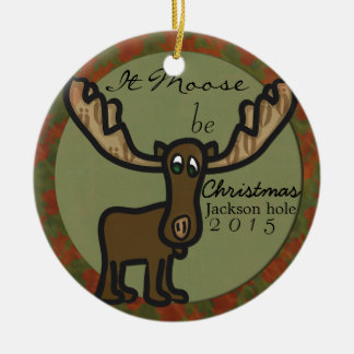 Los alces sea ornamento de la familia del navidad adorno navideño redondo de cerámica