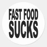 Los alimentos de preparación rápida chupan pegatinas redondas