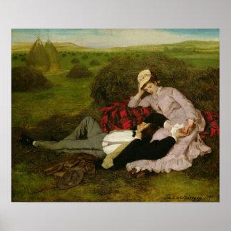 Los amantes, 1870 póster