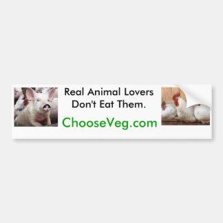 Los amantes animales reales no los comen pegatina para auto