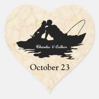 Los amantes de la pesca del vintage ahorran la pegatina en forma de corazón