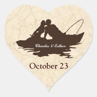 Los amantes de la pesca del vintage de Brown Pegatina En Forma De Corazón