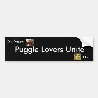 Los amantes de Puggle unen el palillo de parachoqu Pegatina Para Auto