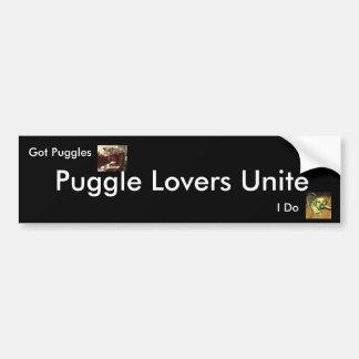 Los amantes de Puggle unen, Pegatina Para Auto