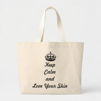 """Los amantes de Skincare """"guardan calma y aman su p Bolsa Tela Grande"""