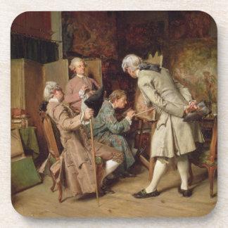 Los amantes del arte, o el pintor, 1860 (el panel) posavasos de bebida