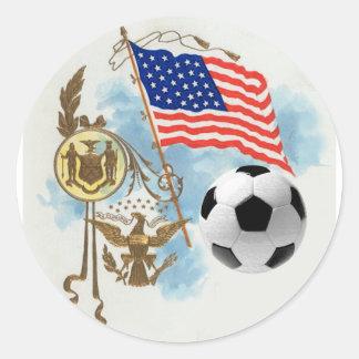 Los amantes del futbol de los E E U U del arte de Etiquetas Redondas