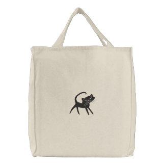 Los amantes del gato bordaron el tote bolsas