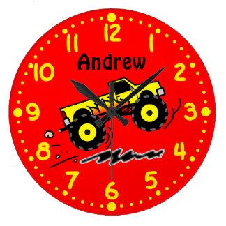 Los amantes del monster truck personalizaron el relojes de pared