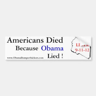 Los americanos murieron cuando mintió Obama Pegatina De Parachoque