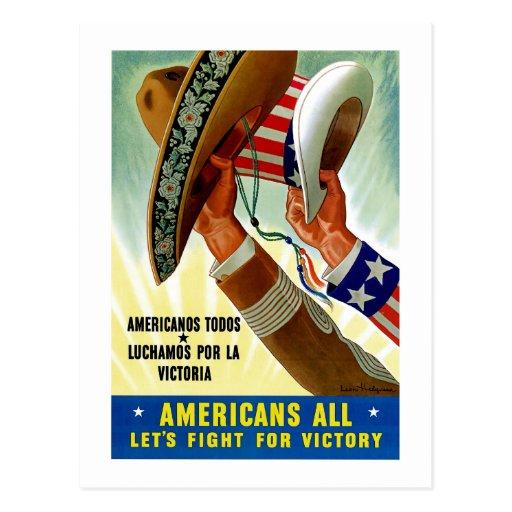 Los americanos todo el ~ nos dejaron luchar para tarjeta postal