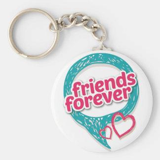 Los amigos aman para siempre los corazones <3 llavero redondo tipo pin
