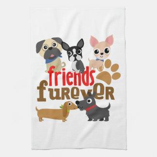Los amigos Furever persiguen perritos Toallas De Cocina