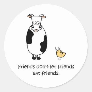 Los amigos no dejan a amigos comer a amigos pegatina redonda