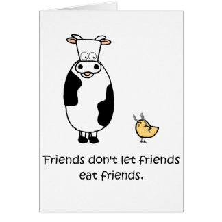 Los amigos no dejan a amigos comer a amigos felicitación