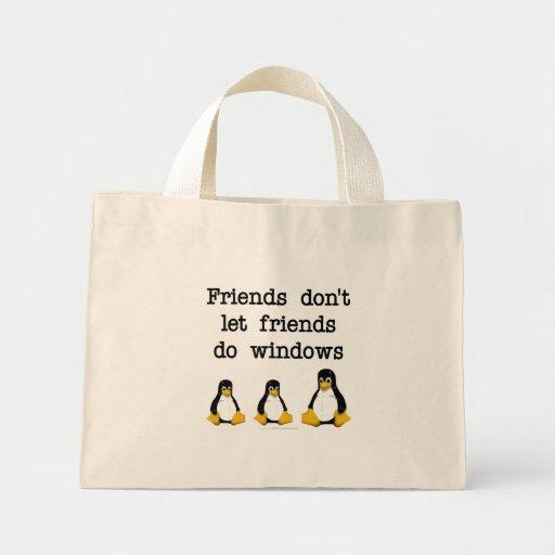 Los amigos no dejan a amigos hacen ventanas bolsa tela pequeña