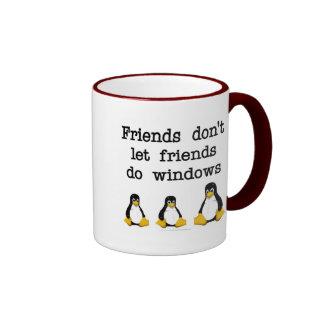 Los amigos no dejan a amigos hacen ventanas taza