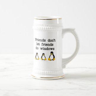 Los amigos no dejan a amigos hacen ventanas taza de café