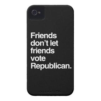LOS AMIGOS NO DEJAN A AMIGOS VOTAR AL REPUBLICANO iPhone 4 CARCASAS
