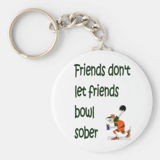 Los amigos no dejan el cuenco de los amigos sobrio llavero redondo tipo pin