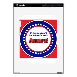 Los amigos no dejan el voto Demócrata de los iPad 3 Pegatina Skin