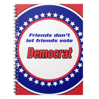 Los amigos no dejan el voto Demócrata de los Note Book
