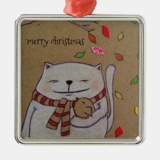 los amigos para el gato y el pájaro lindos de la adorno navideño cuadrado de metal