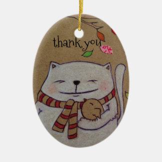los amigos para el gato y el pájaro lindos de la adorno navideño ovalado de cerámica