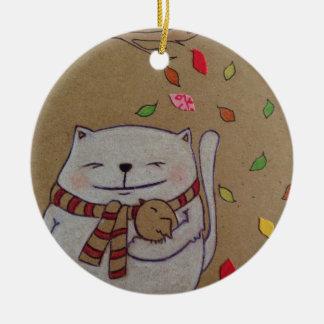 los amigos para el gato y el pájaro lindos de la adorno navideño redondo de cerámica