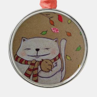 los amigos para el gato y el pájaro lindos de la adorno navideño redondo de metal