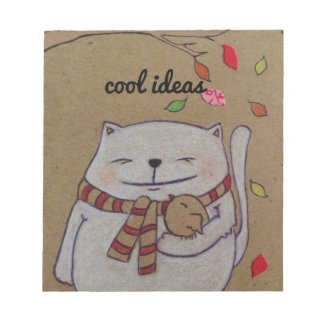 los amigos para el gato y el pájaro lindos de la bloc de notas