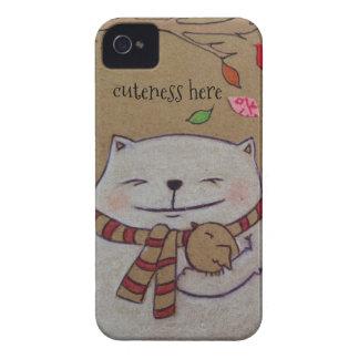 los amigos para el gato y el pájaro lindos de la funda para iPhone 4