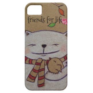 los amigos para el gato y el pájaro lindos de la funda para iPhone SE/5/5s