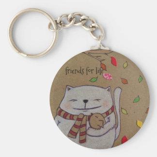 los amigos para el gato y el pájaro lindos de la llavero redondo tipo pin