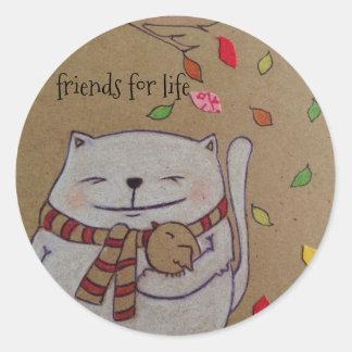 los amigos para el gato y el pájaro lindos de la pegatina redonda