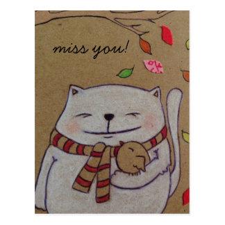 los amigos para el gato y el pájaro lindos de la postales