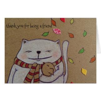 los amigos para el gato y el pájaro lindos de la tarjeta de felicitación