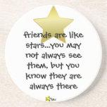 los amigos son como las estrellas, práctico de cos posavaso para bebida