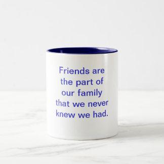 Los amigos son la parte de nuestra familia esa nos tazas de café