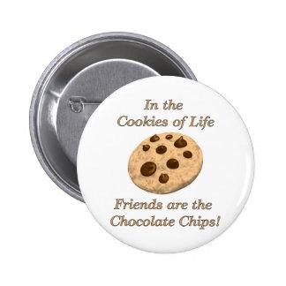 ¡Los amigos son los microprocesadores de chocolate Pin Redondo De 2 Pulgadas