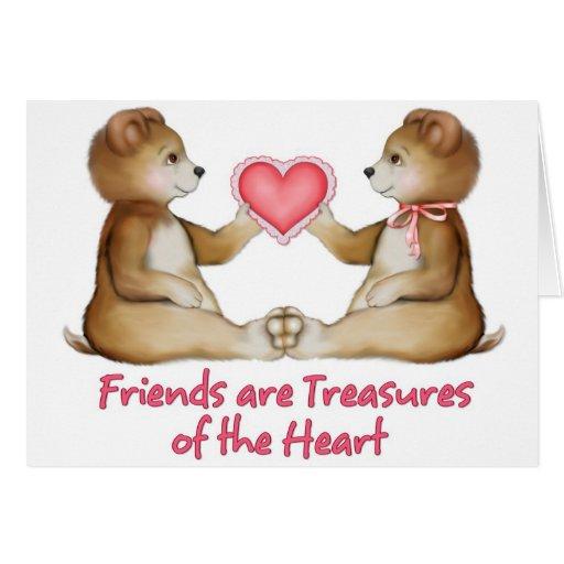 Los amigos son tesoros del corazón tarjeta de felicitación