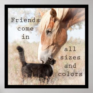 Los amigos vienen en todos los tamaños y colores póster
