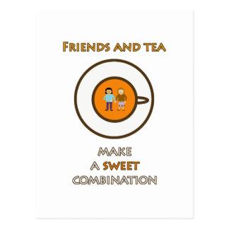 Los amigos y el té hacen una combinación dulce (2) tarjeta postal