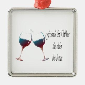 Los amigos y Wine cuanto más viejo es cuanto el me Ornamento Para Arbol De Navidad