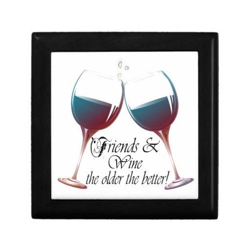 Los amigos y Wine más viejo es el mejor arte del v Cajas De Regalo