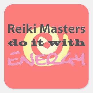 Los amos de Reiki lo hacen con energía Colcomanias Cuadradas