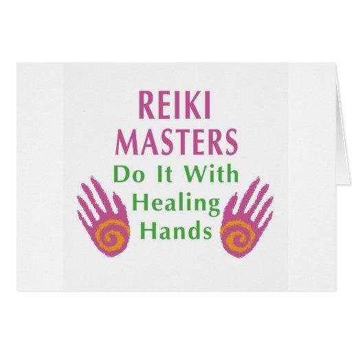Los amos de Reiki lo hacen con las manos curativas Tarjeta De Felicitación