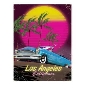 Los Angeles 1980s Retro Travel print